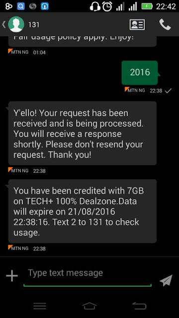 MTN 2016 Data Deal TechPlus 7GB for N2000 2