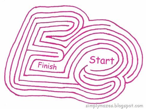 "Maze Number 118: The Letter ""E"".  A printable alphabet maze."