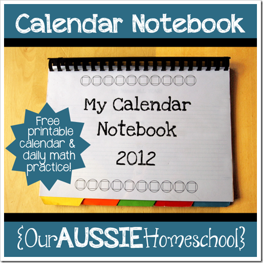 Calendar Notebook Homeschool : Calendars our aussie homeschool