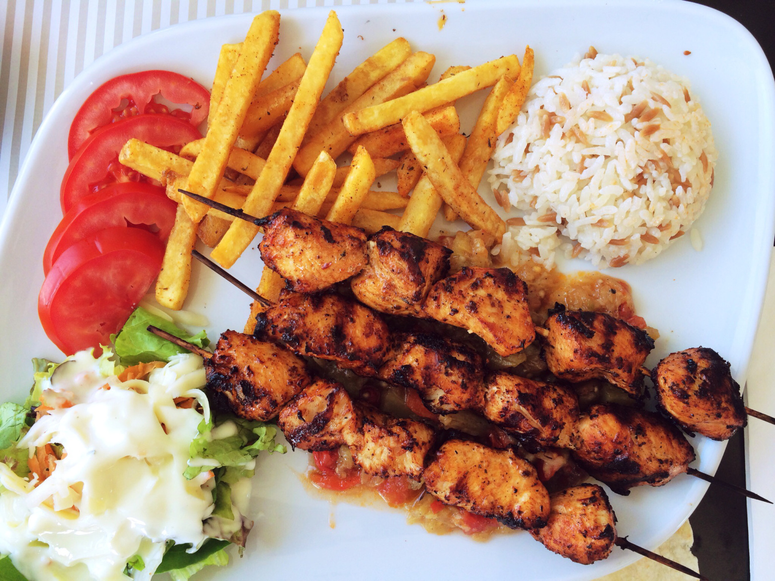 tomatoes in chicken kebab