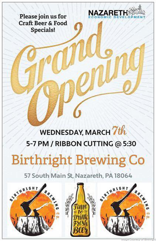 Birthright Brewing To Open In Nazareth, PA