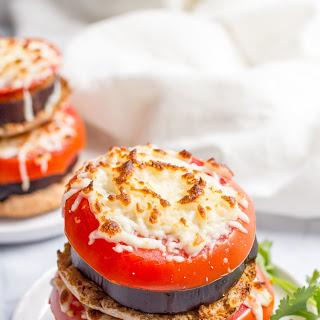 Broiler Eggplant Sandwich With Tomato And Mozzarella