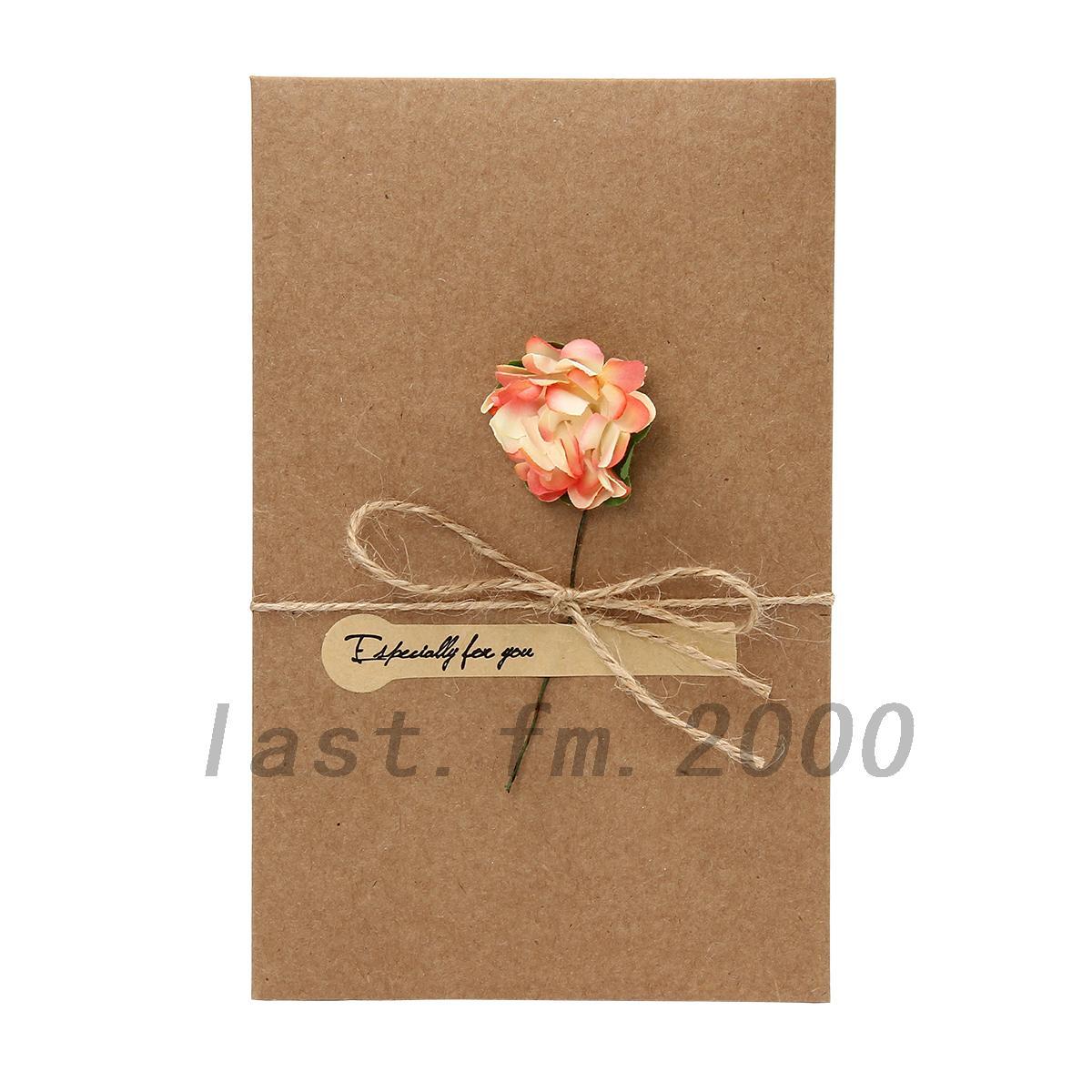 Retro Birthday Wedding DIY Flower Kraft Paper Greeting