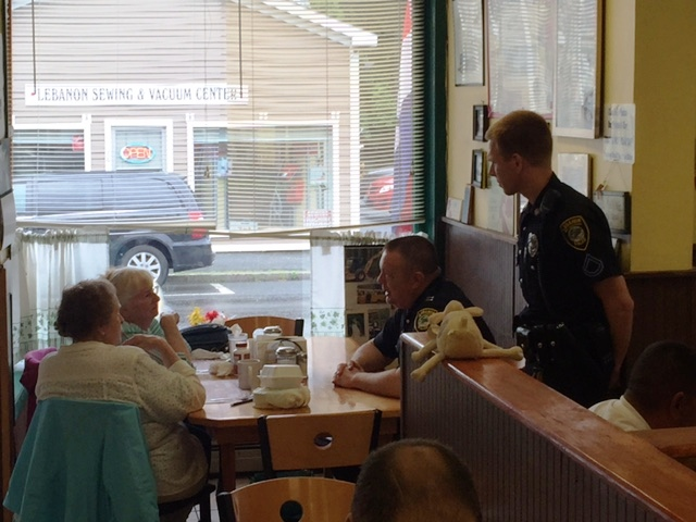 We would like to thank all who came out to the Coffee With a Cop event at Shyrl's Diner in West Lebanon.  We had a great time meeting and getting to know many people from the community!  A special thanks to Shyrl's for their outstanding hospitality.  We hope to see you at one of our upcoming events.