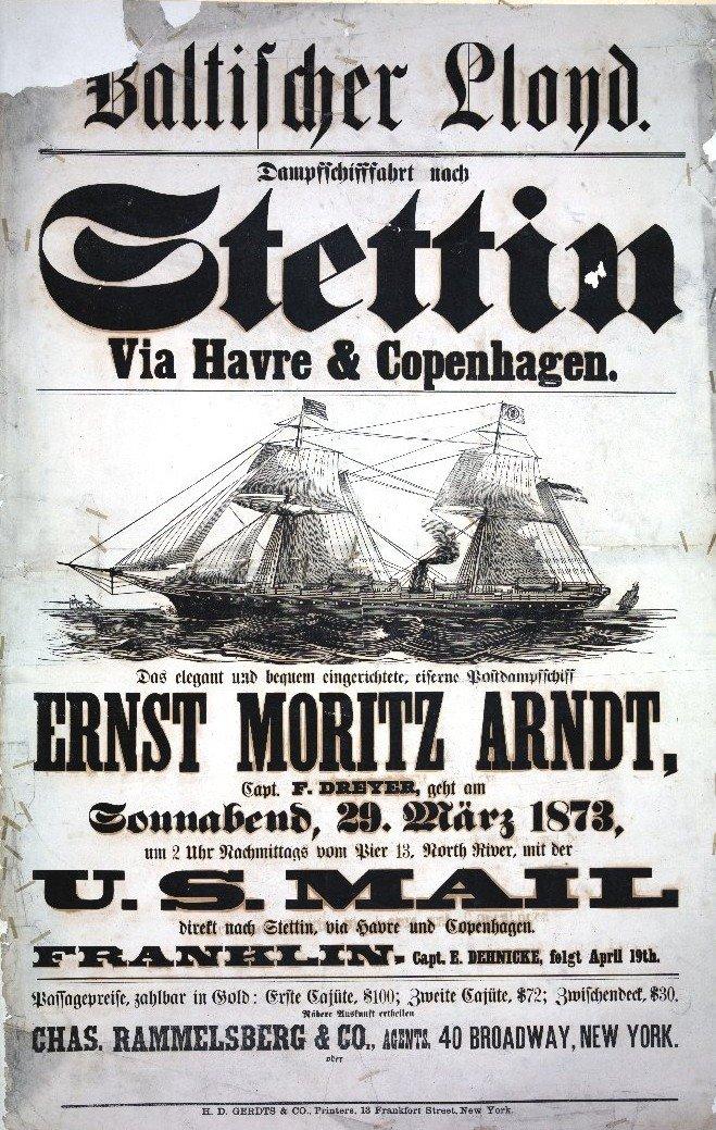 Efimera del Baltischer Lloyd. El buque, aunque pone ERNST MORITZ ARNDT, es la litografía de otro vapor de la compañía..jpg