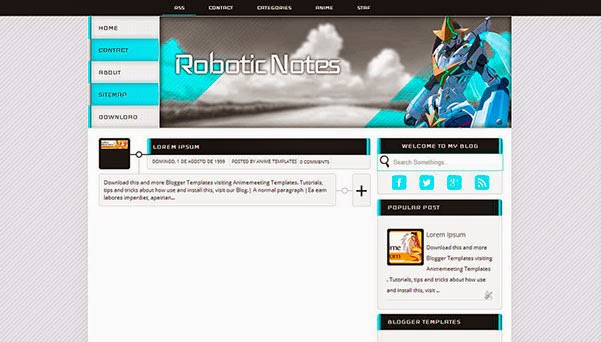 anime blogger template Robotic Notes