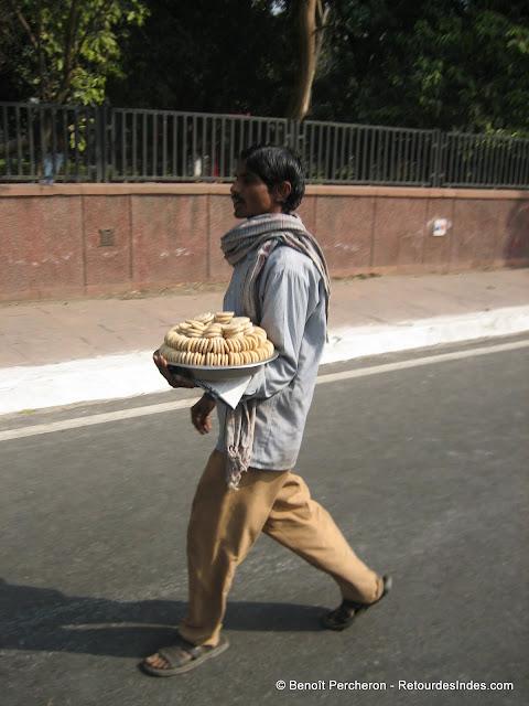 Vendeur mobile de snacks, Delhi