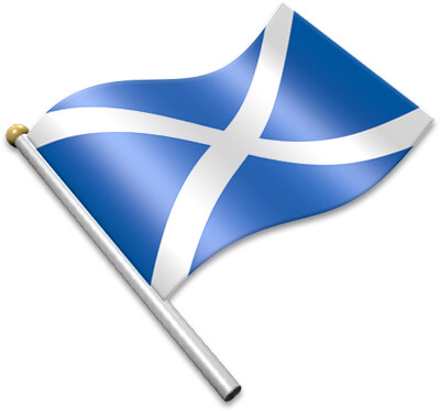 The Scots flag on a flagpole clipart image
