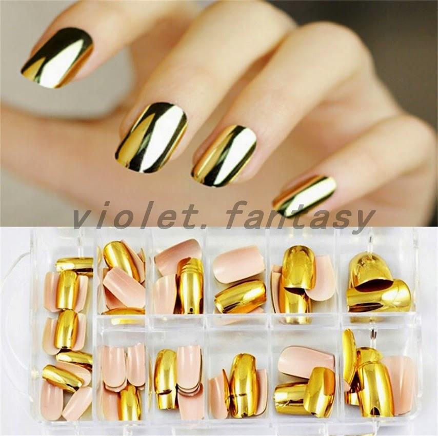 Metallic Fake Press On Nails Chrome Golden Silver Nails New 70PCs ...