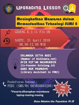 Poster seminar Pemanfaatan Sistem Otomasi Perpustakaan Slims Versi 8 Akasia