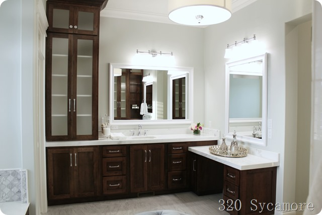 master bathroom dark cabinets