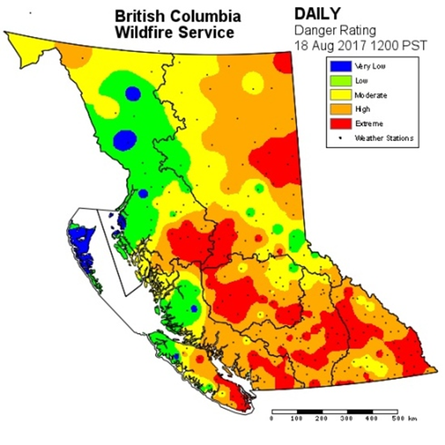 Fire danger rating around British Columbia, 18 August 2017. Graphic: B.C. Wildfire Service