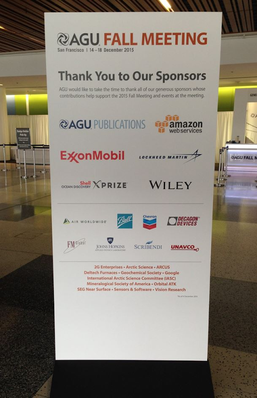 Sponsors listed on a sign at the AGU Fall Meeting, 14-18 December 2015. Spnsors included ExonMobil and Chevron. The continued acceptance of corporate sponsorship from oil companies appears deeply inconsistent with AGU's own organizational support policy. Photo: UCS