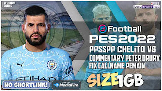 Download eFootball PES 2022 Manchester City PPSSPP Fix Callname English Version and New Update Kits 2021/22