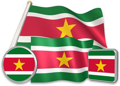 Surinamese flag animated gif collection