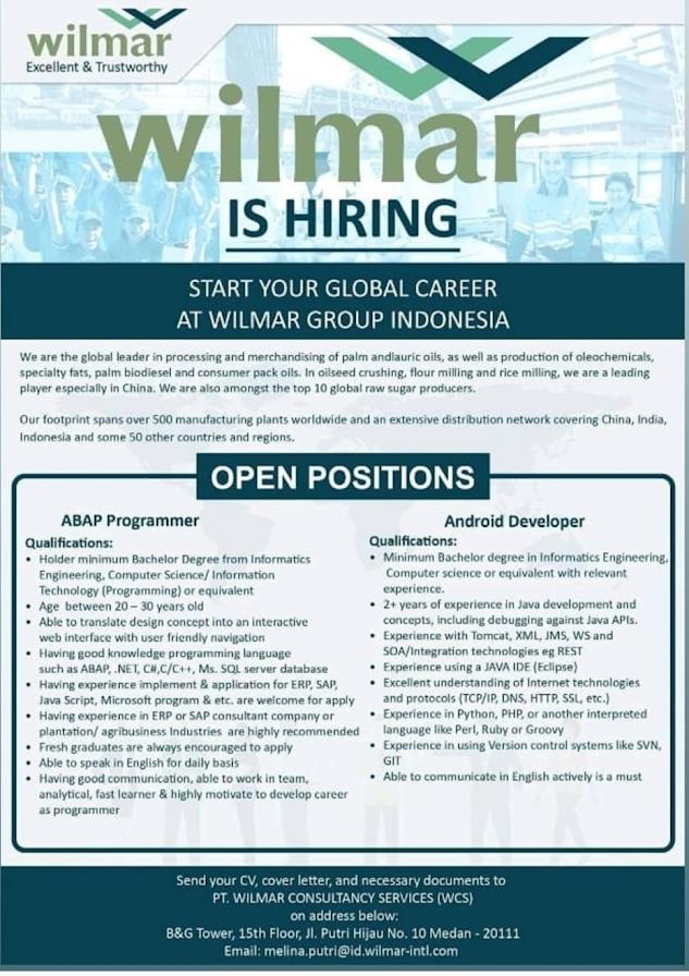Lowongan Kerja Medan September 2020 S1 Wilmar Consultancy Services Wcs