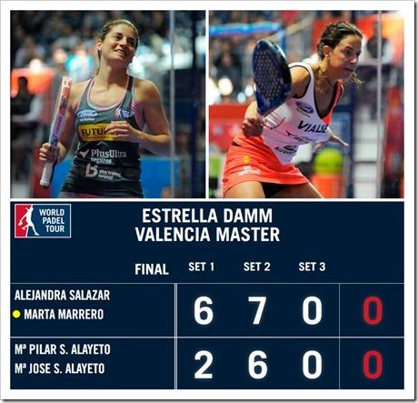 Salazar-Marrero campeonas del Estrella Damm Valencia Master 2016.
