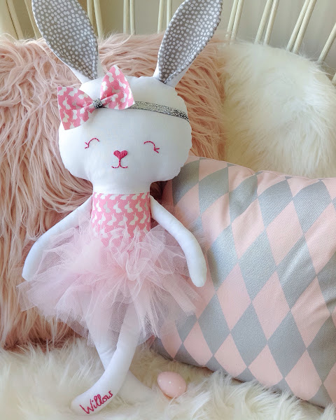 Easter Bunny Doll with Silver Headband and Pink Tutu by Rhapsody and Thread