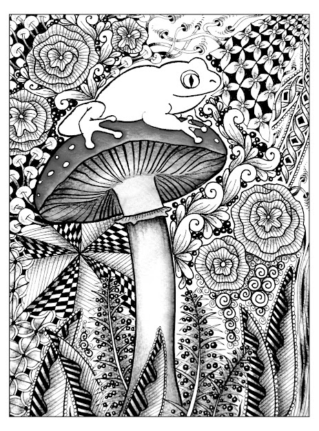 Free Coloring Page Coloringdifficultfrog Cute Frog On Mushroom