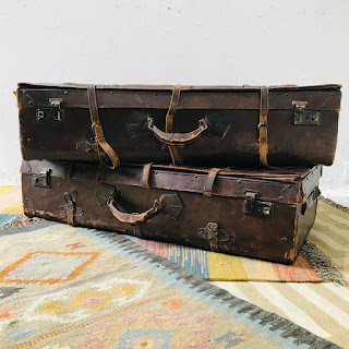 Distressed Leather Suitcase Pair