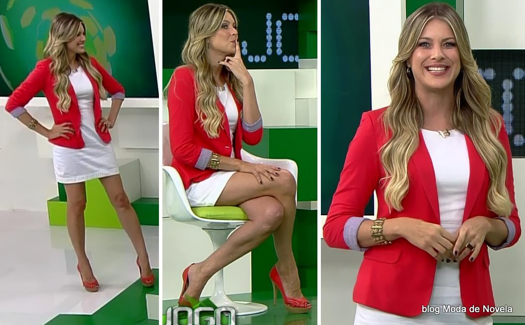 moda do programa Jogo Aberto - look da Renata Fan dia 15 de maio