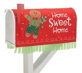 Gingerbread Man Nylon Mailbox Cover With Home Sweet Home Delighful Christmas Decor