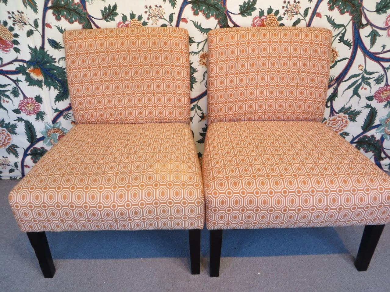 Geometric Slipper Chair Pair