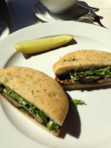 Vintage Kitchen dish: Grilled Portobello and Gruyere with Pesto on Focaccia