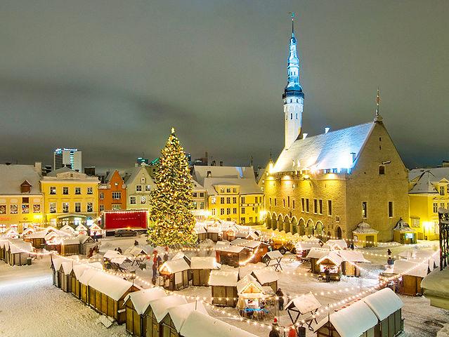 Christmas market at the town hall square, Tallinn, Estonia