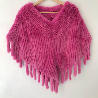 Sophia Swire Knit Pink Rabbit Fur Shawl