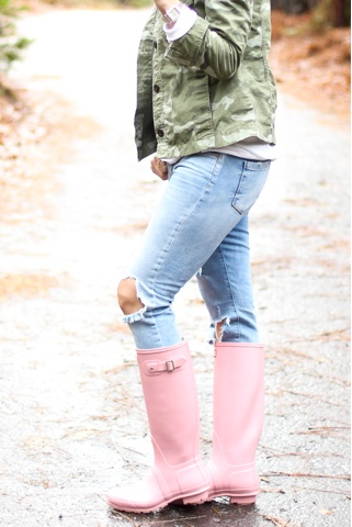 pink tall gloss hunter boots parlor girl