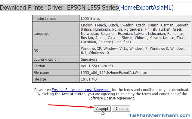 hoàn tất tải driver epson L555