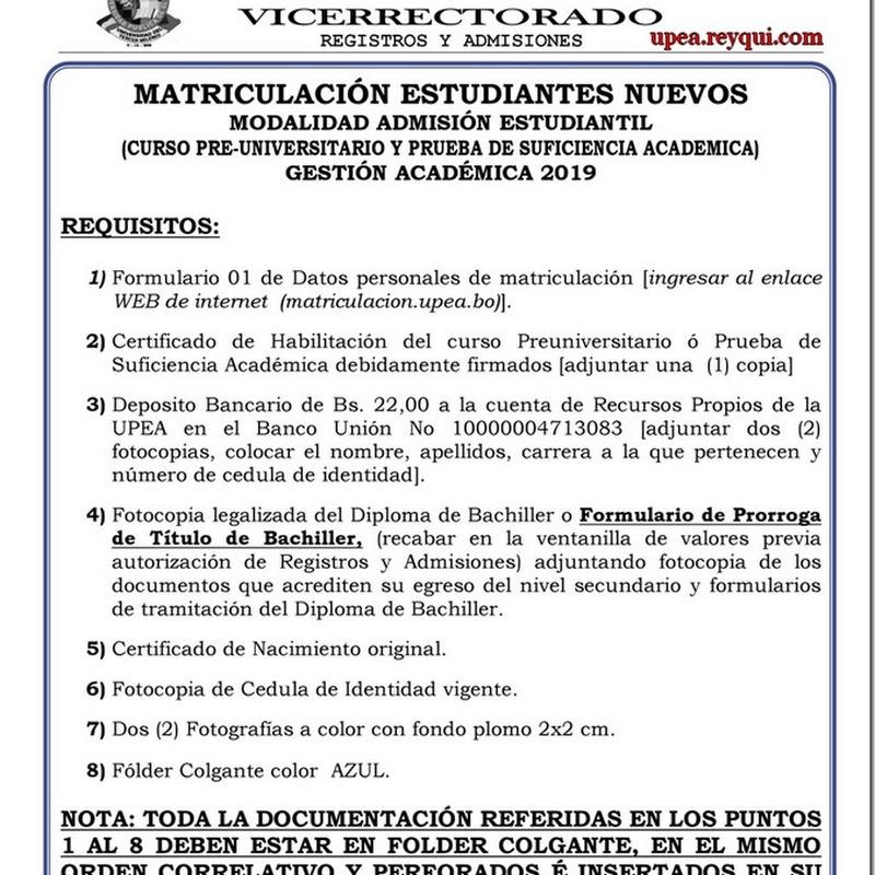 Matriculación UPEA 2019: Requisitos Para Estudiantes Nuevos