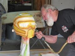Arny working on helmet