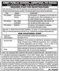 Army Public School Amritsar notice 2018 www.indgovtjobs.in