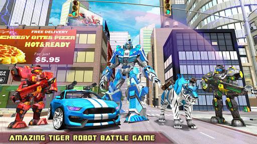 US Police Transform Robot Car White Tiger Game 1.2 screenshots 13