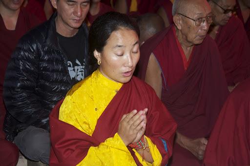 Khadro-la at Lama Zopa Rinpoche's long life puja, Maitreya Project grounds, Bodhgaya, India, January 2012. Photo by Bill Kane.Photo by Bill Kane.