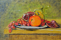 Still Life grenades grapes peach and apple