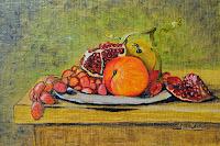 Still Life grenades grapes peach and apple