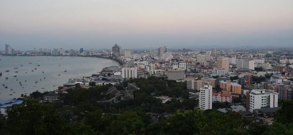 panoramic of Pattaya at sunset