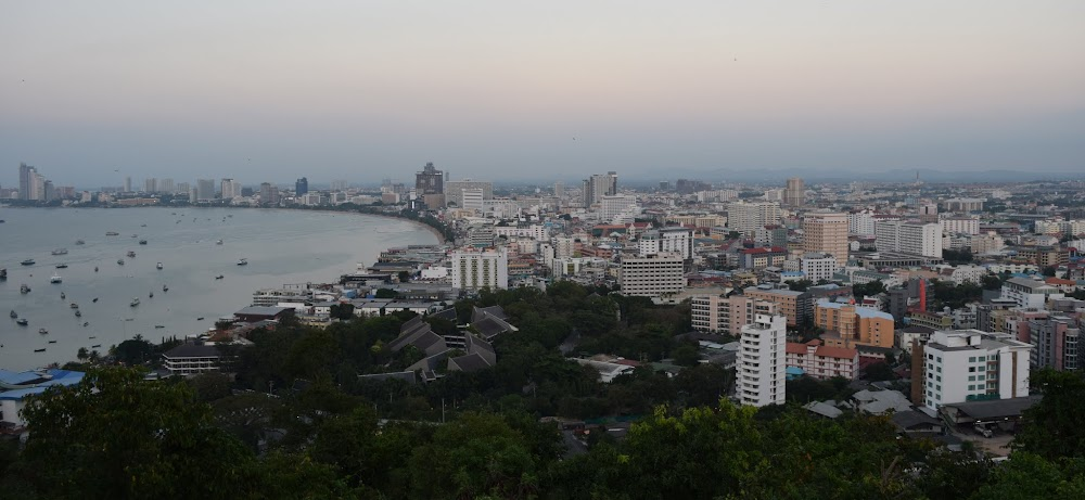panoramic of Pattaya at sunset