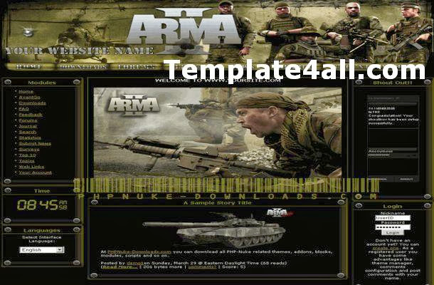 Free Army Green Black Phpnuke Theme Template