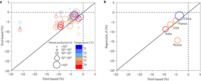 Comparison of wheat yield changes with 1°C global temperature increase for 97 wheat-producing countries estimated using three different methods. a, Median simulations of a grid-based (0.5° × 0.5°) ensemble of seven models versus a point-based (30 locations over 30 years) ensemble of 30 models. b, Country-level statistical regression for China, India, USA, France, and Russia. Graphic: Liu, et al., 2016 / Nature Climate Change