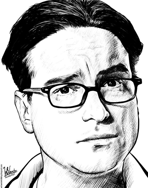 Ink drawing of Johnny Galecki, using Krita 2.4.