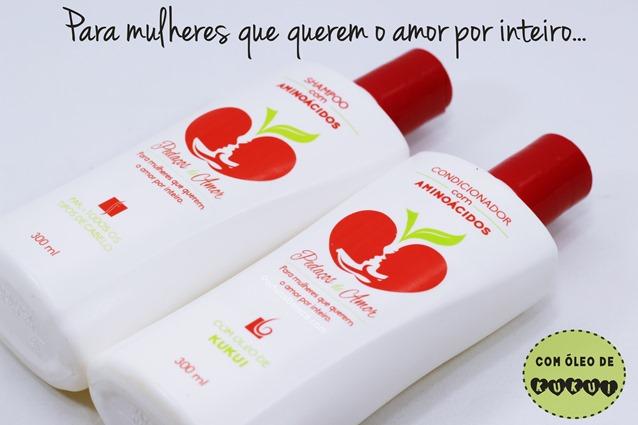 shampoo e condicionador para todos os tipos de cabelos, Linha Pedaços de Amor