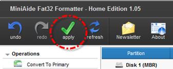 Tombol Apply untuk memulai proses formatting