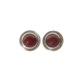 Sterling Silver & Red Stone Clip Earrings