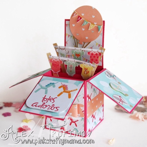 fancy fold folding foldable pop up popup box card cards stampin up Stampin' Up! Lullaby best year ever DSP strawberry slush crisp cantaloupe coastal cabana celebrate today hot air balloon paper smooches slang gang stamp stamps die cutting dies Websters Pages Hello World onesies fussy cutting baby girl bow builder curvy corner trio punch