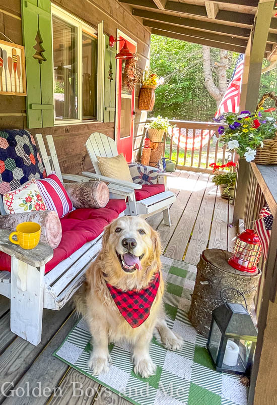 Porch at a mountain cabin with DIY shutters and golden retriever- www.goldenboysandme.com