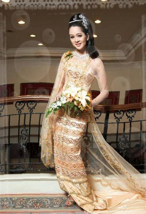 Beautiful myanmar traditional wedding dress - Fashionre